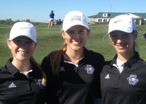 Pictured here are SCA Golf Team Members: Sarah Blumer, Olivia Blumer, and Carlie Queen.