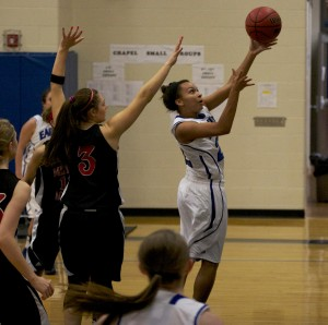 SCA sophomore Holly Golden goes for a jump shot in Eagle Invitational
