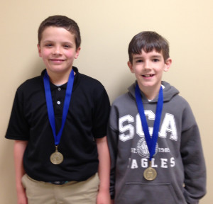 Summit Christian Academy 1st Place Math Olympians include SCA 3rd grader Trey Kates and SCA 4th grader Christian Phillips.