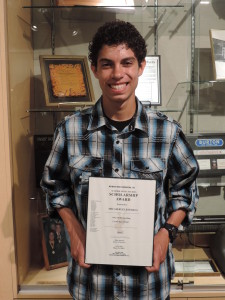 SCA Junior Micah Ruiz-Esparza was awarded the Summer Music Studies Scholarship from Metheny Music Foundation.  Esparza will be attending Camp Electric this summer.