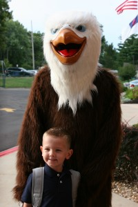 """""""Due to an increase in enrollment the administration at SCA opened a fourth Kindergarten class for the first time in school history,"""" shared SCA Head of School Linda Harrelson. Here SCA Kindergarten student Jack Stiglic poses with SCA Mascot Screech."""