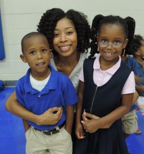 SCA mom Talicia Yancey enjoys some added time with her Kindergarten son Aiden and First Grade daughter Leah at SCA's Morning with Mom.