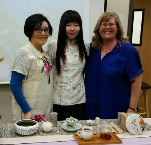 SCA International Student Phoebe Choi, her mother Mandy, and host mom Noel brought a traditional Chinese tea ceremony to SCA.