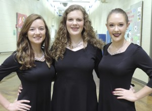 SCA students selected for the Kansas City Metro Women's Honor Choir, from left to right:  Juniors Madelynn Fristo and Kayla Kernsvaal, and Senior Emma Griggs.