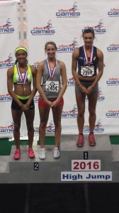 Carlie Queen, pictured center, tied for 2nd to claim the silver medal at the Simplot Games.