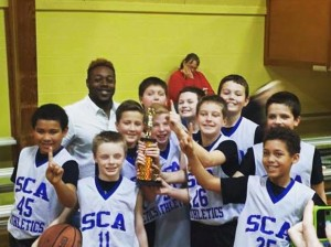 SCA fifth grade boys' basketball team won the Blue Ridge Tournament and finished their season undefeated.