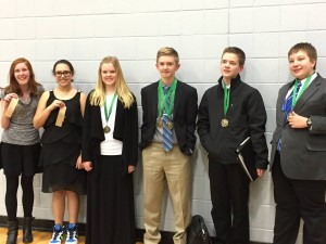 SCA Junior High Debate students make school history by competing against each other in the final round at the Blue Springs Invitational Tournament.   From left to right, 8th grade pair Kennedy Cooper and Isabella Totero took 8th place. 7th grade pair Madeline Hammett and Ryan Wagy (far right) took 2nd place. 8th grader Sam Espey and 7th grader Austin Wilson took first.  Sam Espey was also named Top Speaker.