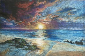 SCA Senior Brook Spies' piece, a pastel seascape, received a II rating at the UCM High School Competitive Art Exhibition.