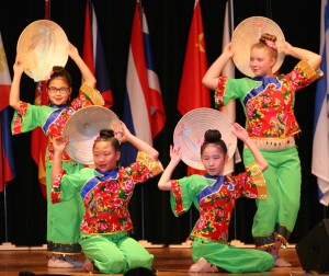 The Lily Zhang Li Taylor Dance Academy shares beautiful costumes and dance on the stage at the SCA International Festival.
