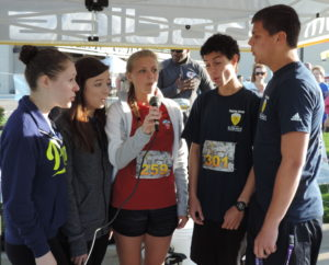 Members of SCA's Junior/Senior Ensemble led the National Anthem at SCA's 7th Annual Eagle Egg 5K. Left to right Emma Griggs, Madelyn Fristo, Annelise Parke, Micah Ruiz-Esparza and Ross Parke.