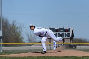 Junior Will Finch pitches to lead the SCA Eagles to a 10-0 win over Knob Noster to win the Knob Noster Invitational