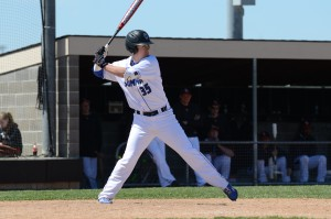 Senior Robbie Suhr swings to help the SCA Eagles win first place in the Knob Noster Invitational. Suhr's other highlights included two tournament home runs and a triple.