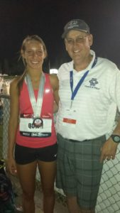 Carlie Queen, with her coach and father John Queen, placed 4th at the USATF Junior Outdoor Championship.