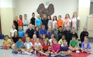 """Photo Caption: Pictured here, with SCA Elementary Vice Principal Charissa Sanders, are SCA's first through sixth grade """"Reader Leaders"""". The students were recently celebrated in a special luncheon at the school. First row (left to right): Jaden Brown, Breonna Batchelor, Chloe Constant, Dakota Flinn, Olivia Prough, and Sophia Ruiz. Second row (left to right): Annabelle Carleton, Katelyn Davis, Ethan Epema, Dakota Fraase, Chloe Mankin, Bailey Moore, Paris Newton, Jackson Shrum, Isabelle Thompson. Third row (left to right): Isabella Skinner, Grey Stout, Elijah Ward, Jane Stout, Adam Stanton, Imani Piercey, Ben Hammett, Samuel Armstrong, Elena Michael, Ethan Sanders, Rilyn Richards-Hamburg Fourth row (left to right): Addison Welch, Solomon Anderson, Josiah Piercey, Karinton Newton, Caroline Hammett, Emma Coats, Lucie Epema, Charli Hinton, Memphis Hinton, and Katie Coats. Not pictured: Colton Kennemore"""