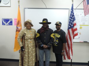 Pictured here are the Buffalo Soldiers from the Alexander Madison Chapter of KC Area, Ninth & Tenth (Horse) Cavalry Association, from left to right: Donna Madison (Treasurer), John W. Bruce (President), Lena Bruce (Educational Coordinator).