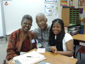 SCA 5th Grade student Brielle Ferguson enjoys spending quality time with her grandparents Melba & Charles Mercier at SCA's annual Grandparents' Day.