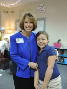 One of SCA Head of School Linda Harrelson's favorite days of the school year is Grandparents' Day. She enjoys visiting the classrooms of her two grandchildren who attend SCA.  Pictured here, Mrs. Harrelson shares her day with fourth grade granddaughter Isabel Harrelson.