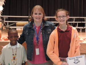 SCA First Quarter Christian Character recipients were first grade student Brevin Ferguson, pictured with Elementary Vice Principal Mrs. Charissa Sanders, and sixth grade student Eden Prather.